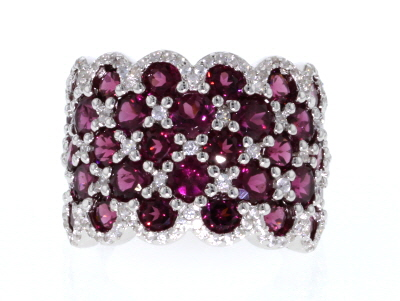 Raspberry Color Rhodolite Rhodium Over Sterling Silver Ring 9.35ctw