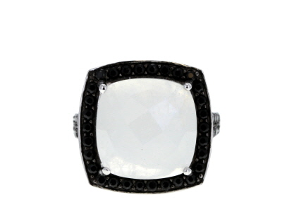 White Moonstone Rhodium Over Silver Ring 13.75ctw