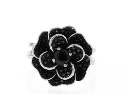 Black Spinel Rhodium Over Sterling Silver Flower Ring 1.44ctw