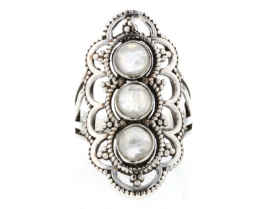 Rainbow Moonstone Sterling Silver 3-Stone Ring 1.70ctw