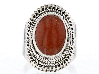 Orange Sunstone Sterling Silver Ring
