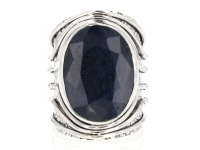 Blue Sapphire Sterling Silver Solitaire Ring 16.00ct