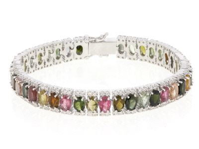 Multi-Color Tourmaline Rhodium Over Sterling Silver Bracelet 17.75ctw
