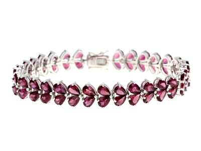 Purple Rhodolite Rhodium Over Sterling Silver Bracelet 30.91ctw