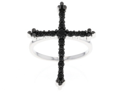 Black Spinel Sterling Silver Cross Ring .67ctw