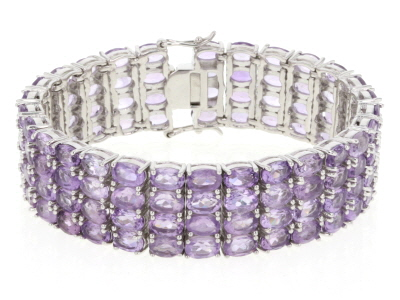 Rose de France Amethyst Rhodium Over Sterling Silver Multi Row Bracelet 56.00ctw