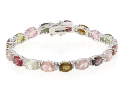 Multi Tourmaline Rhodium Over Sterling Silver Bracelet 20.85ctw