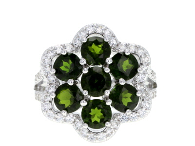 Green Russian Chrome Diopside Rhodium Over Sterling Silver Ring 4.60ctw