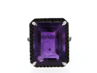 Purple African Amethyst Rhodium Over Sterling Silver Ring 16.10ctw