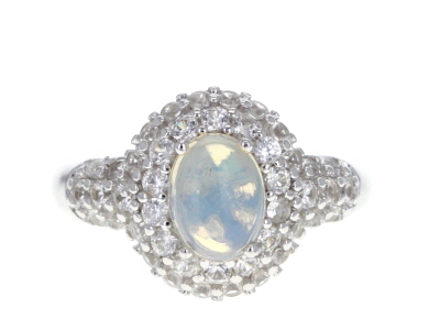 Multi Color Ethiopian Opal Rhodium Over Sterling Silver Ring 2.30ctw