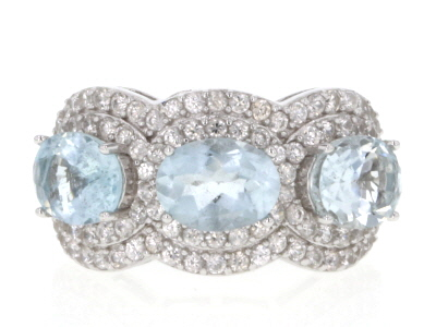 Blue Brazilian Aquamarine Rhodium Over Sterling Silver 3-Stone Ring 5.03ctw