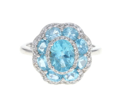 Blue Apatite Rhodium Over Silver Ring 3.15ctw