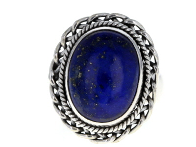 Blue Lapis Lazuli Sterling Silver Solitaire Ring