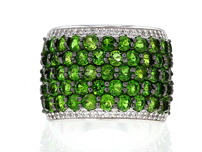 Green Chrome Diopside Sterling Silver Ring 4.47ctw