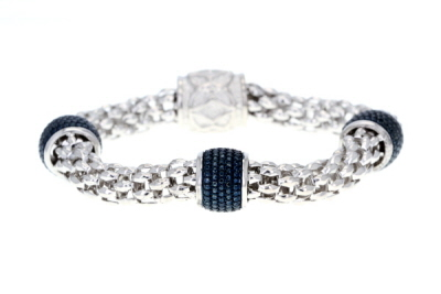 Blue Diamond Rhodium Over Sterling Silver Bracelet 0.50ctw