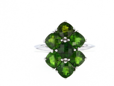 Chrome Diopside Rhodium Over Sterling Silver Ring 3.85ctw