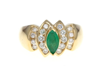 Green Marquise Emerald 14k Yellow Gold Ring 1.07ctw