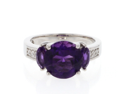 Purple amethyst rhodium over silver ring 3.40ctw