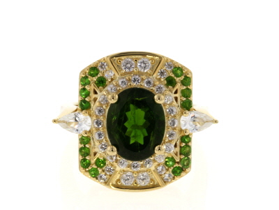 Green chrome diopside 18k gold over silver ring 3.72ctw