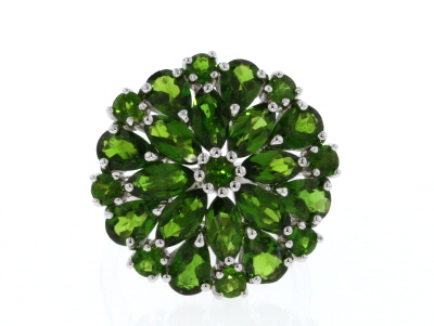 Green Chrome Diopside Rhodium Over Sterling Silver Cluster Ring 6.34ctw