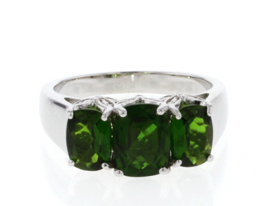 Green Chrome Diopside Rhodium Over Silver Ring 2.66ctw