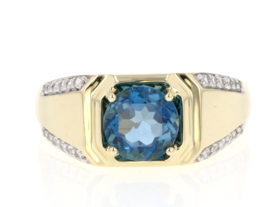 London Blue Topaz 10k Yellow Gold Gent's Ring 2.26ctw