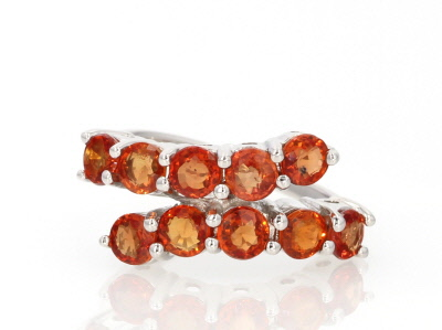 Orange Sapphire Sterling Silver Ring 2.50ctw