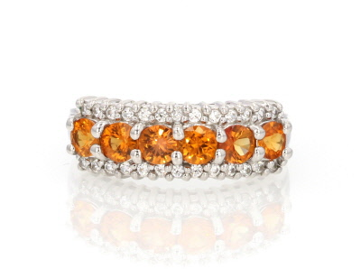 Orange Sapphire Sterling Silver Ring 1.12ctw