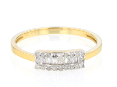 White Diamond 14k Yellow Gold Over Sterling Silver Ring .20ctw