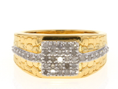 White Diamond 14K Yellow Gold over Sterling Silver Gents Ring .58ctw
