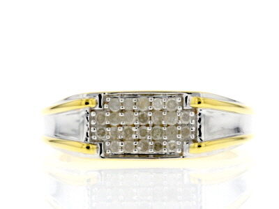 White Diamond Rhodium And 14K Yellow Gold Over Sterling Silver Mens Band 0.30ctw