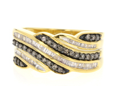 Champagne and White Diamond 14k Yellow Gold Over Sterling Silver Band Ring 0.55ctw