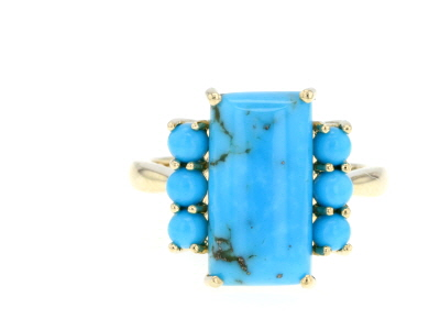 Blue Arizona Turquoise 10k Yellow Gold Ring