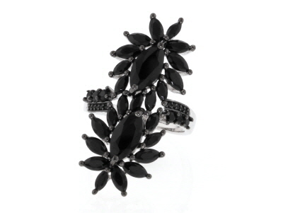 Black spinel rhodium over sterling silver ring 3.84ctw