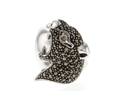 Gray marcasite silver panther ring .01ct