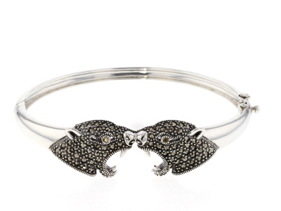 Gray marcasite silver panther head bracelet .02ctw