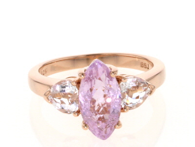 Pink kunzite 18k rose gold over sterling silver ring 3.24ctw