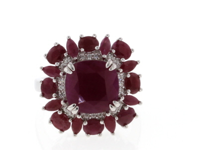 Red Ruby Rhodium Over Silver Ring 9.23ctw