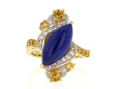 Blue lapis lazuli 18k gold over silver ring .64ctw