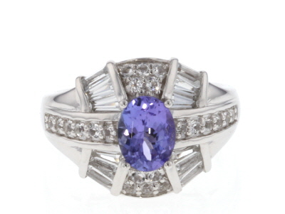 Blue tanzanite rhodium over sterling silver ring 2.02ctw