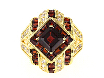 Red garnet 18k yellow gold over silver ring 5.19ctw