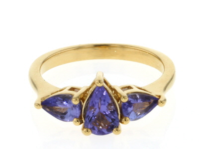 Blue Tanzanite 18k Gold Over Silver Ring 1.40ctw