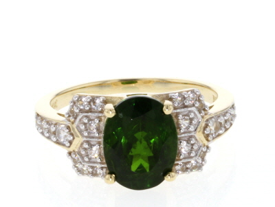 Green Chrome Diopside 10k Yellow Gold Ring 2.65ctw