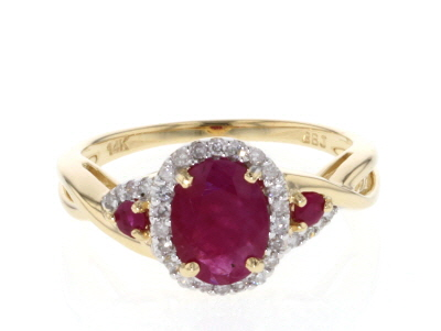 Red Burma Ruby 14k Yellow Gold Ring 1.30ctw