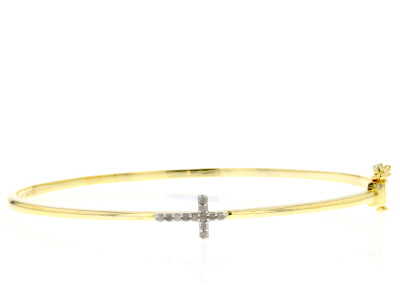 White Diamond 14k Yellow Gold Over Sterling Silver Bracelet .15ctw