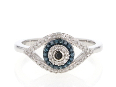 Blue, Black and White Diamond Rhodium over Sterling Silver Ring .22ctw