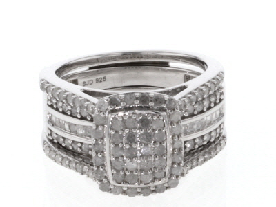 White Diamond Rhodium Over Sterling Silver Interchangeable Ring And Band 1.45ctw
