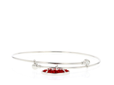 Preciosa Crystal Red And White Charm Bangle Bracelet