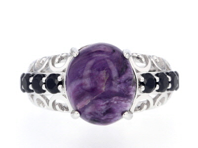 Purple charoite sterling silver ring 1.14ctw