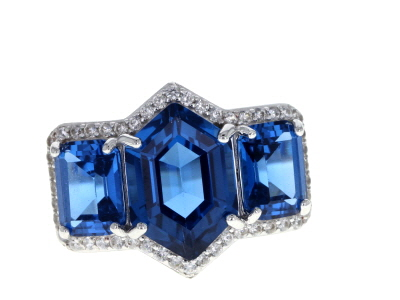 Blue lab created spinel rhodium over silver ring 7.24ctw